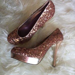Madden Girl Rose Gold Sequin Heels